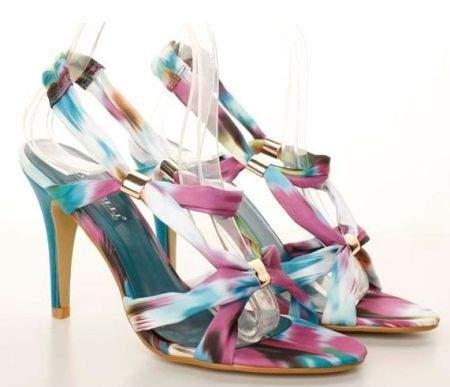 Sandale multicolore textile cu toc Flower-Power blue
