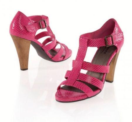 Sandale din piele ce imita pielea de sarpe de culoare roz Snake