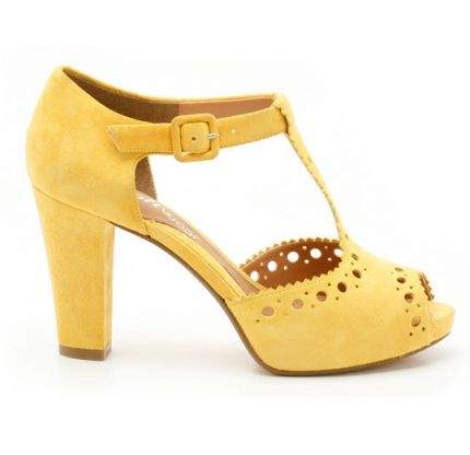 Sandale cu toc gros galbene Clarks